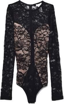 Fleur Du Mal Chat Noir Lace Long Sleeve Bodysuit in Black