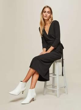Black Ribbed Midi Wrap Dress