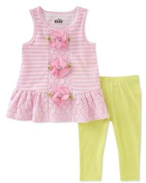 Kids Headquarters Little Girl's Two-Piece Floral and Striped Tunic and Solid Capri Leggings