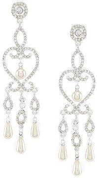 Cezanne Heart Rhinestone & Faux-Pearl Statement Chandelier Earrings