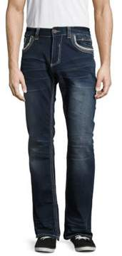 Affliction Cotton-Blend Whiskered Denim Pants
