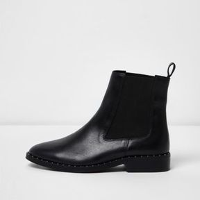 River Island Womens Black leather studded chelsea boots