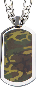 JCPenney FINE JEWELRY Inox Jewelry Mens Camo Dog Tag Stainless Steel Pendant Necklace