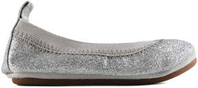 Yosi Samra Silver Sparkle Leather Flat