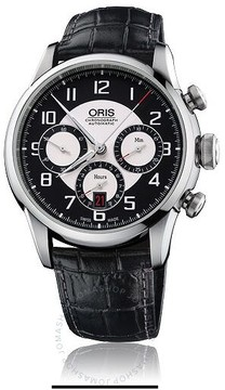 Oris Raid Black and silver Dial Automatic Black Leather Men's Watch