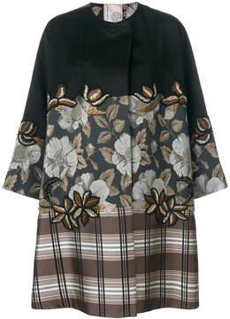 Antonio Marras floral and plaid print oversized coat