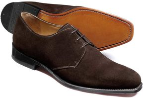 Charles Tyrwhitt Brown Soho Suede Derby Shoes Size 7.5