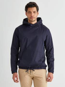 Frank and Oak Light Poplin Popover Hooded Anorak in Navy