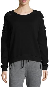 Betsey Johnson Women's Lace-Up Pullover Cotton Sweatshirt