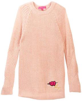 Betsey Johnson Cold Shoulder Lurex Sweater with Chiffon Inserts (Big Girls)