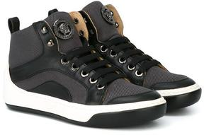 Young Versace panelled trimming hi-top sneakers
