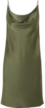 Halston Draped Satin Mini Dress - Army green