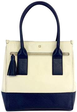 Kate Spade Navy & Cream Patterned Leather Tote - NAVY - STYLE