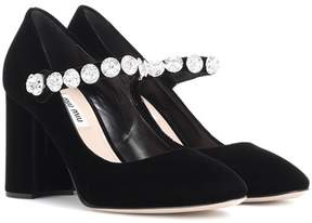 Miu Miu Embellished velvet Mary Jane pumps