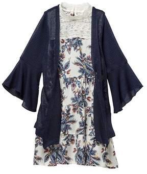 Beautees Crochet Yoke Paisley Dress & Bell Sleeve Sweater Set (Big Girls)