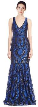 David Meister Embroidered Sequin Gown.