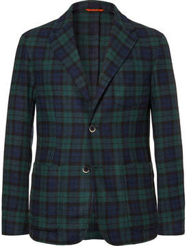 Barena Unstructured Black Watch Checked Wool-Blend Blazer