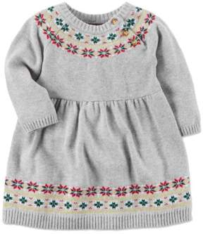 Carter's Infant Girls Gray Floral Sweater Dress Christmas Holiday Party Outfit NB