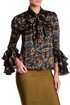 Gracia Floral Print Tiered Ruffle Sleeve Blouse
