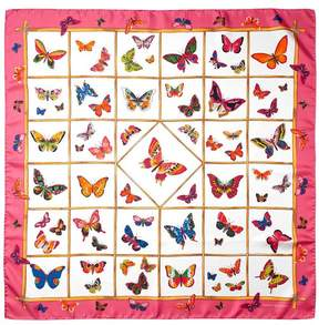Aspinal of London Multi Coloured Butterflies Silk Scarf In Blossom