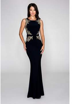 Cachet Jersey Gown With Embroidered Lace & Illusion Bodice With Same Details On Waist..