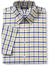 Lands' End Men's Traditional Fit Short Sleeve Supima Pattern No Iron Oxford Shirt-Gray Heather Plaid