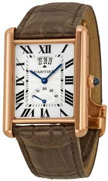 Cartier Tank Louis Silver Dial 18k Rose Gold Brown Leather Mechanical Men's Watch
