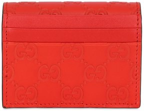 Gucci Gg Embossed Leather Card Holder - RED - STYLE