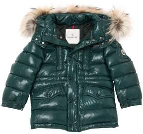 Moncler Riviere Nylon Down Coat W/ Fur Trim