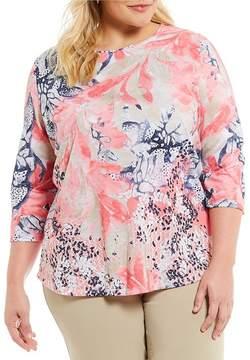 Allison Daley Plus Wide Crew-Neck Floral Print Knit Top