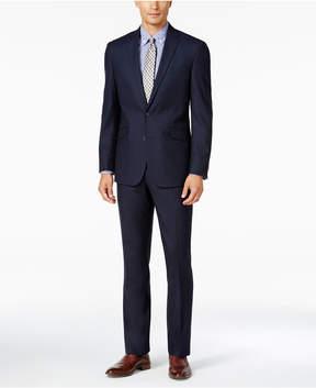 Kenneth Cole Reaction Men's Slim-Fit Tonal Dark Blue Shadow-Check Suit