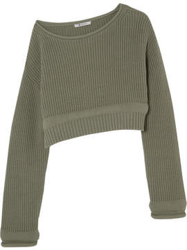 Alexander Wang Cropped Off-the-shoulder Cotton-blend Sweater - Army green