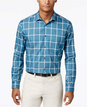 Alfani Men's Cotton Grid-Pattern Shirt, Created for Macy's