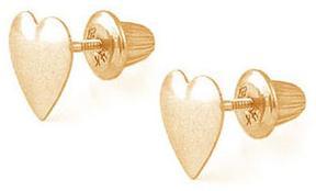 Ice 14K Yellow Gold Heart Shape Stud Screw Back Girls' Earrings