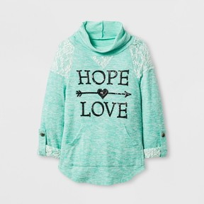 Miss Chievous Girls' Hooded Cowl Neck Pullover w/ HOPE LOVE Arrow Screen - Green