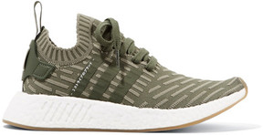adidas Nmd_r2 Leather-trimmed Primeknit Sneakers - Army green