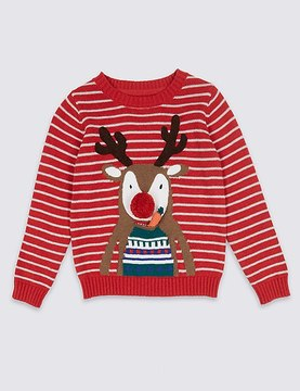 Marks and Spencer Pure Cotton Reindeer Jumper (3 Months - 5 Years)