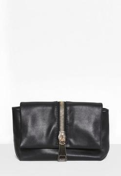 Black Faux Leather Zip Clutch Bag
