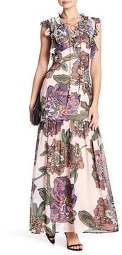 Badgley Mischka Flutter Split Neck Floral Print Maxi Dress