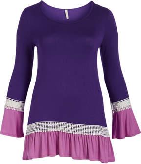 Celeste Purple Lace Ruffle-Hem Scoop Neck Tunic - Plus