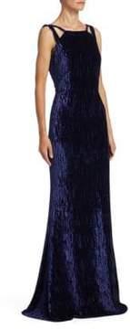 Badgley Mischka Textured Floor-Length Velvet Gown