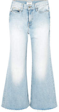 Frame Le Palazzo Frayed Cropped High-rise Wide-leg Jeans - Light denim