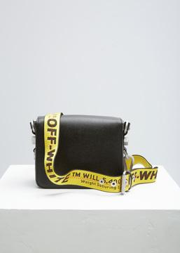 Off-White black / white diag flap bag
