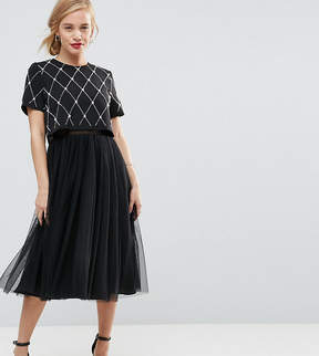 Asos Embellished Crop Top Midi Tulle Prom