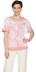 Bob Mackie Bob Mackie's Floral Sequin Mesh Top and SolidKnit Tank Set