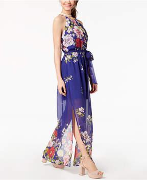 BCX Juniors' Floral-Print Halter Maxi Dress