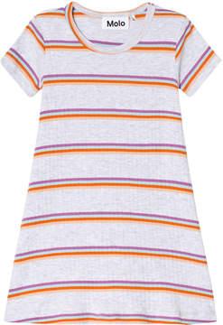 Molo White Pink And Orange Stripe Campa Dress