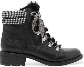 Sam Edelman Darrah Faux Fur-trimmed Textured-leather Ankle Boots - Black