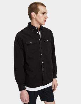 Saturdays NYC Angus Broken Twill Shirt in Black