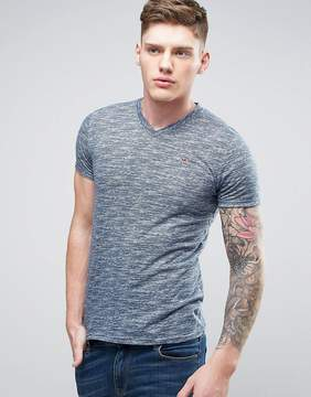 Hollister Slim Core Vneck T-Shirt Seagull Embroid Logo in Navy Marl